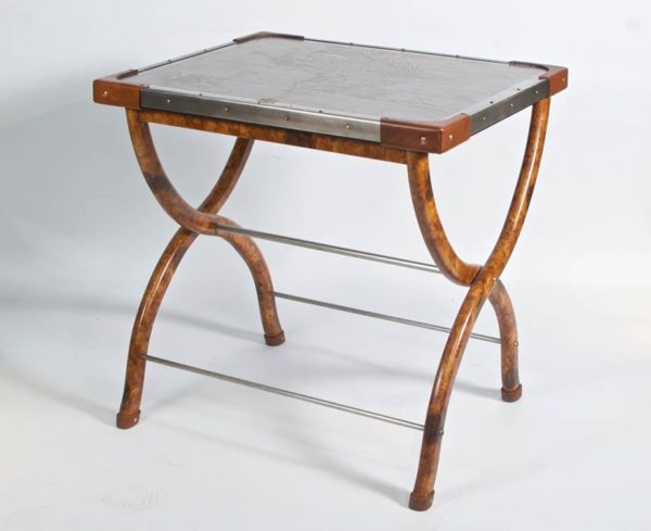 safari folding table with africa map