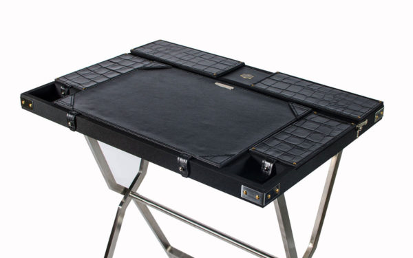Campaign Computer Desk - Black Croc - top view