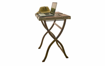Campaign Computer Desk Khaki - side angle