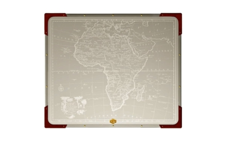 safari folding table - top view of africa map