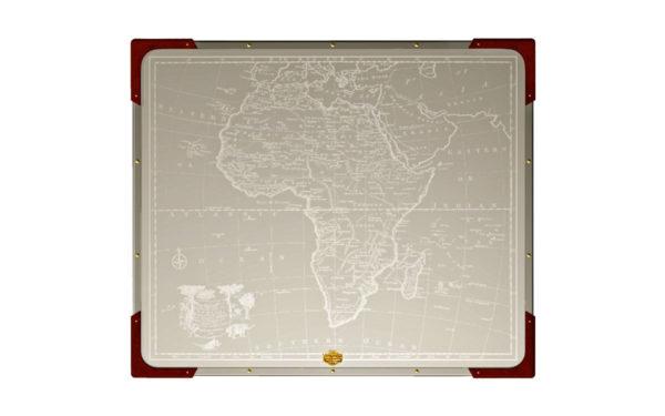 safari folding table - top view of africa map