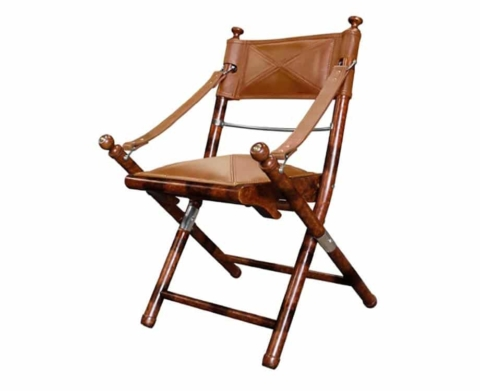 leather safari folding chair