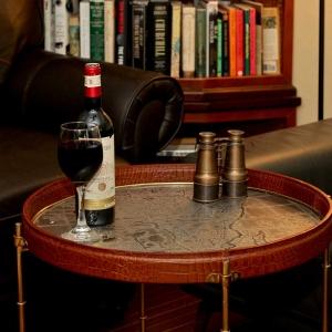 Safari Wine Table - Cognac Leather