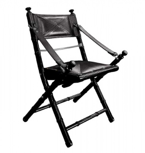 Campaign Safari Chair, black leather