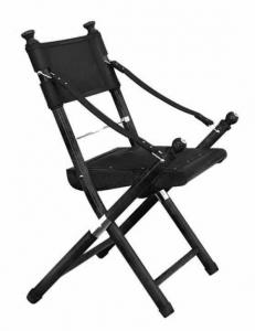 black safari folding chair in leather