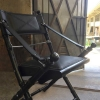 black leather safari folding chair